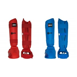 Protège-tibias et pieds KARATE WKF Couleur-Rouge Taille-XL